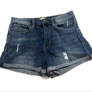 Sneak peak distressed high rise jean shorts